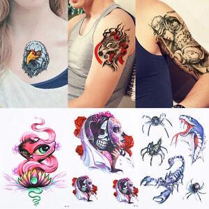 1pc Beauty 3d Women Men Body Arm Art Skull Wolf Phoenix Temporary