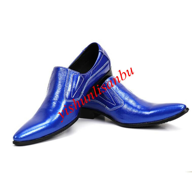Men leather shoes pointy toe slip on british style fashion nightclub formal new