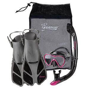 Used-Seavenger-Adults-Kids-Dry-Top-Snorkel-Mask-Fins-Bag-Travel-Set