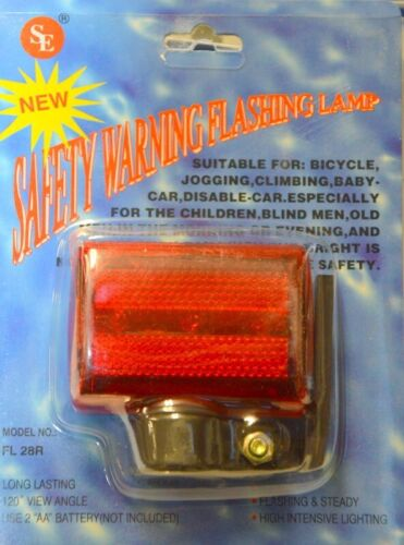 #FL28R Flashing and Steady requires 2 AA Batteries 12 -Red Bike  Light 3 LED