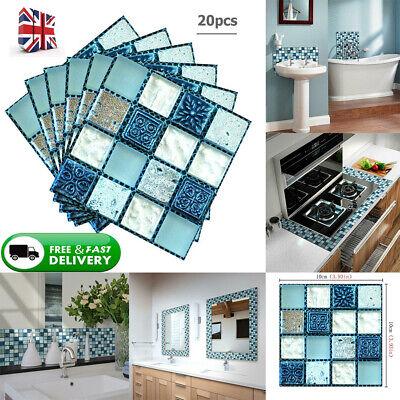 20pcs DIY Waterproof Self Adhesive 3D Wall Stickers Mosaic Tile Decal Art Decor