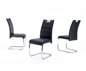 esszimmerstuhl k chenstuhl schwingstuhl stuhl flora s kunstleder schwarz ebay. Black Bedroom Furniture Sets. Home Design Ideas