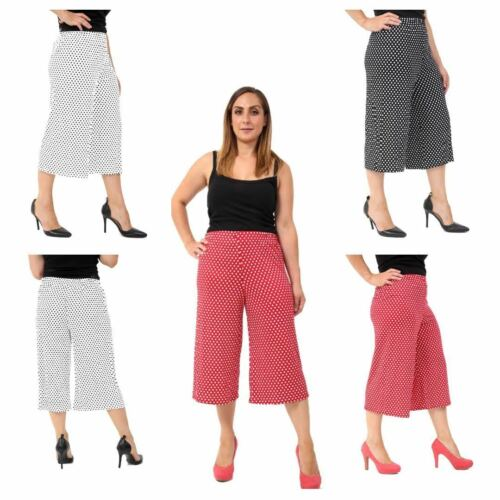 Mesdames Femmes Jambe Large cullotes 3//4 Pantalon Court 3//4 Casual Loose Pantalon
