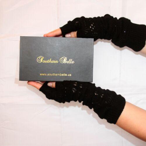 "Silk Cashmere knit Fingerless Fashion warm Gloves cream 8/"" long OneSize Unisex"