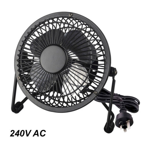10cm Mini Desk Fan 240V AC Plug-in Mains Powered with Tilt Adjustment BLACK