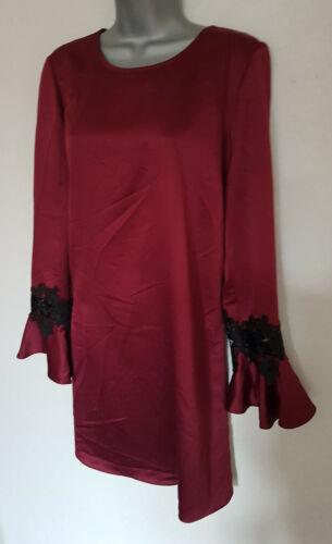 Nuevo Lipsy Borgoña Rojo Azul Marino Satén Negro Encaje Manga Larga Vestido de swing 14 16