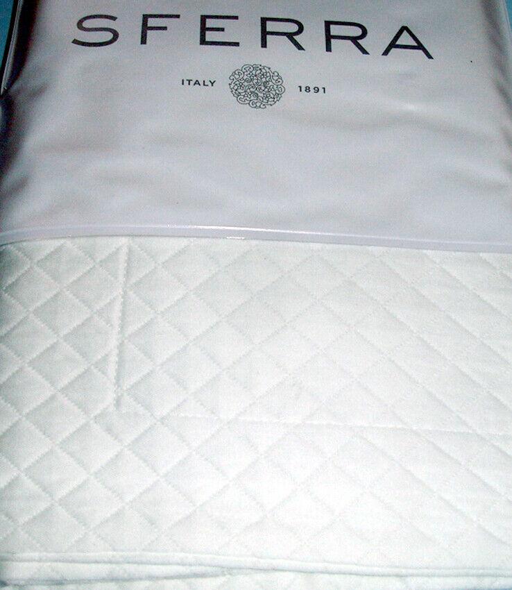 Sferra Bari White Euro Continental Sham Cotton Diamond Pique Matelasse New