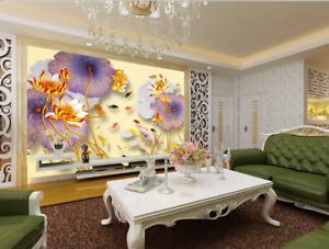 Papel Pintado Mural Vellón Estanque De Peces Lotus Moda 2 Paisaje Fondo Pansize