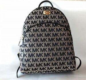 New Michael Kors Abbey Beige Black Jacquard Top Zip Large Backpack Shoulder Bag Ebay