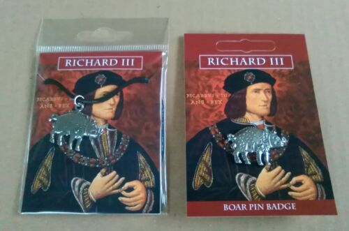 Richard III Boar Pewter Lapel Pin Badge And Pendant On A Waxed Cord