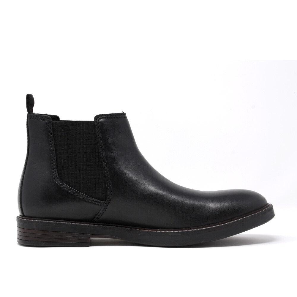 Clarks Mens Paulson Up Chelsea Boots Black Leather Size UK 8.5 US 9.5 EUR 42.5