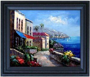 Framed Mediterranean Seaside Villas 9 Quality Hand Painted Oil Painting 16x20in