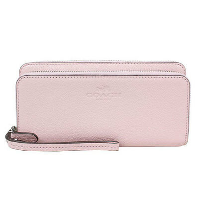 Coach Wallet F52718 Pebbled Leather Double Accordion Zip Agsbeagle #COD Paypal