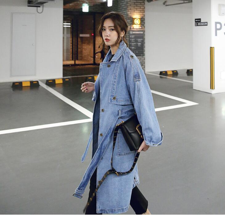 New Womens Fashion Loose Denim Coat Long Lapel Trench Windbreaker Belt Overcoat