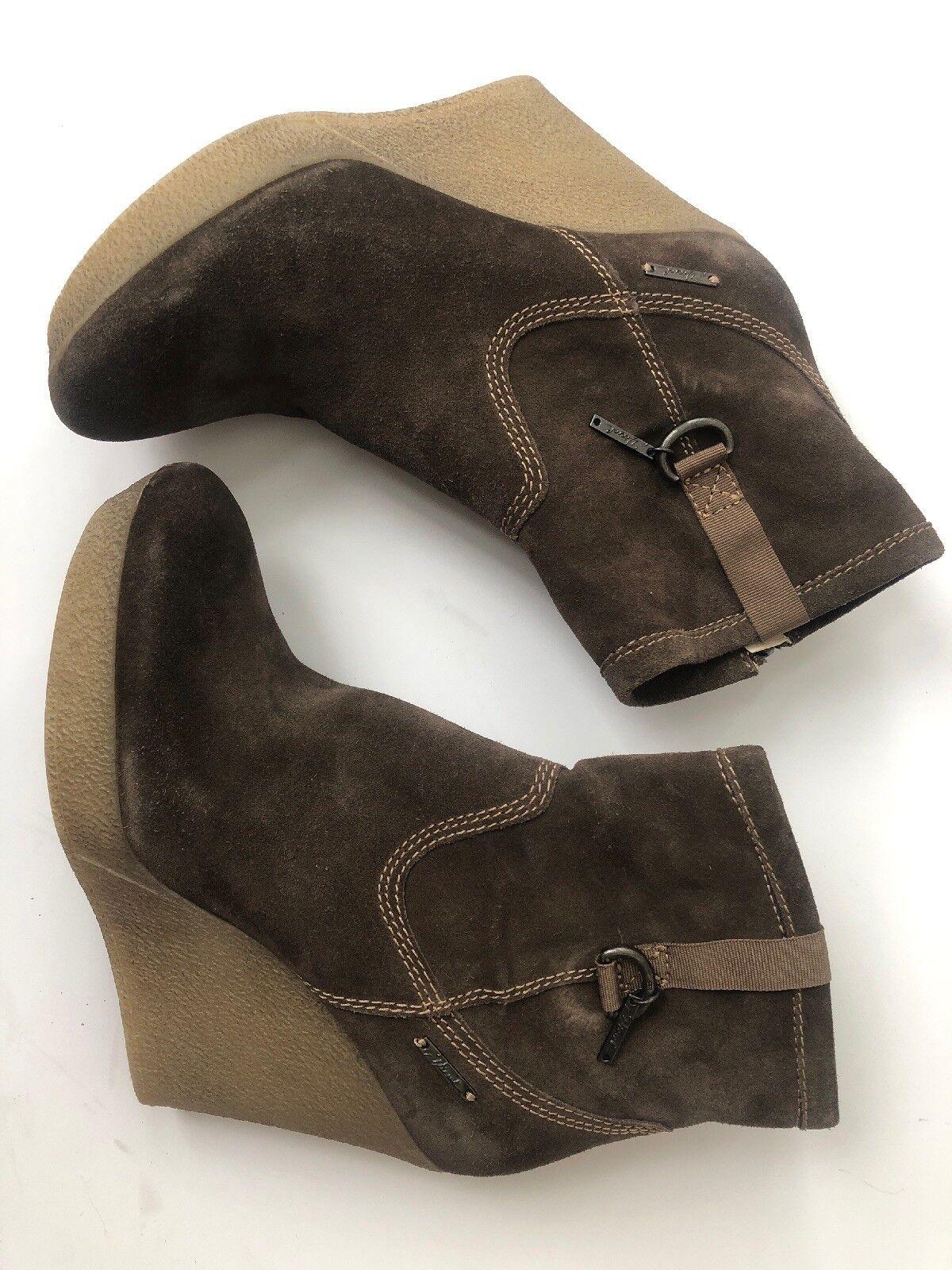 Diesel Suede Platform Leather Wedge Zipper Ankle Boots Women's Size EU 40