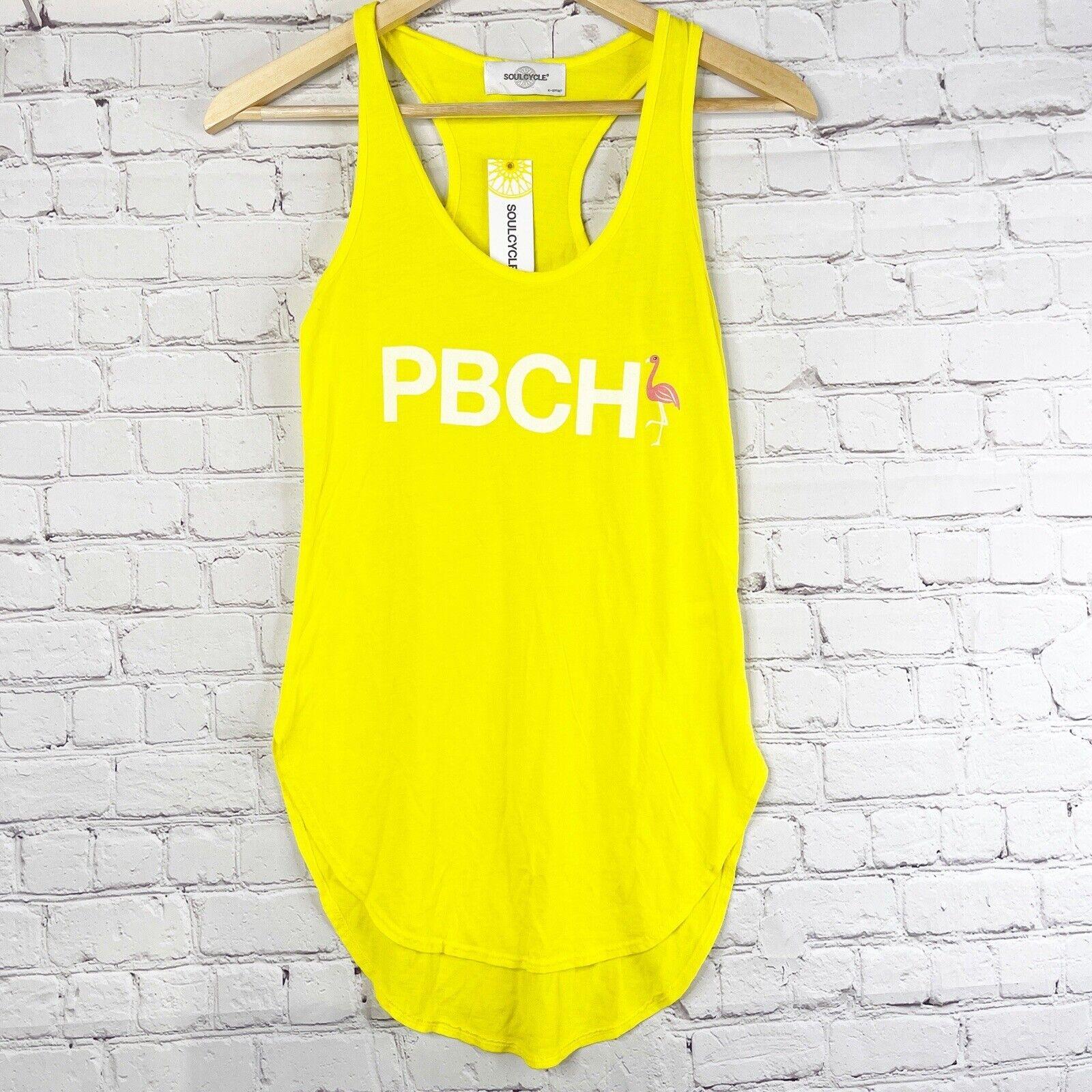 SOULCYCLE Bright Yellow Flamingo PCBH Workout Tank Women's XS
