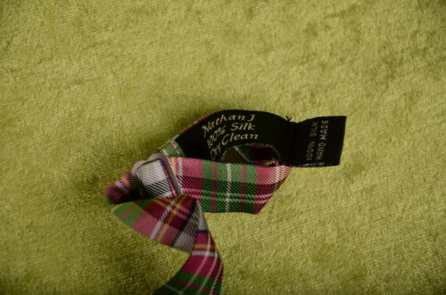 Nathan J Purple Bow Tie Bowtie Adjustable Silk Hand Made RED GREEN SILVER ~ NEW
