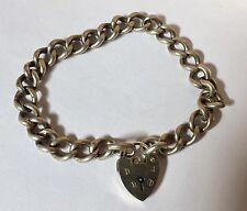 "Sterling Silver 925  Vintage Charm Bracelet Heart Padlock 7.5"""