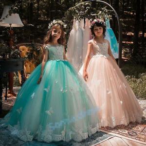 Neu-Spitze-Prinzessin-Blumenmaedchen-Kleider-Maedchen-Geburtstag-Festzug-Kleider