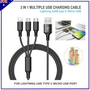 3 In 1 Data Speed Charge Cable Lightning Micro USB Android Type C 8 Pin iPhone
