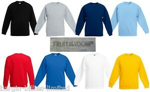 CHILDRENS-FRUIT-OF-THE-LOOM-SWEATSHIRTS-KIDS-SCHOOL-UNIFORM-SWEATER-JUMPER