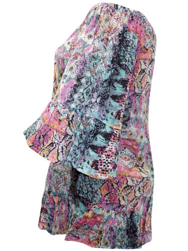New YOURS Multi Print On or Off Shoulder Panelled Top Plus Sizes 16 20 22 24