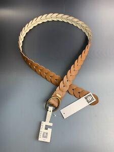 Anne Klein Women's SZ L/XL Brown Braided Belt polyurethane Leather Brass Buckle