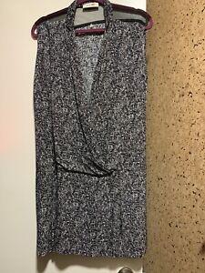 Sandro-Black-V-Neck-Wrap-Drop-Waist-Dress-Sz-3-L-Sleeveless-Mesh-Shoulder