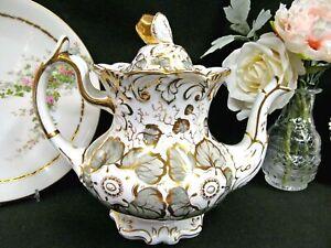 Antique-1830-039-s-Rockingham-teapot-floral-gray-amp-gold-gilt-pattern-tea-pot-acorn