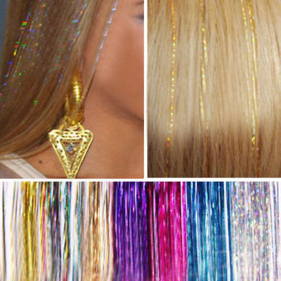 Long Hair Tinsel Sparkle Holographic Glitter Extensions Highlight Party Wedding