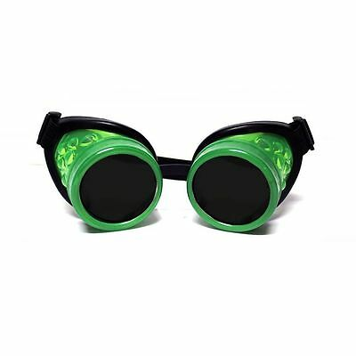GloFX Glow Green Steampunk Padded Goggles Rave Welding Cyber Punk Goth Rave