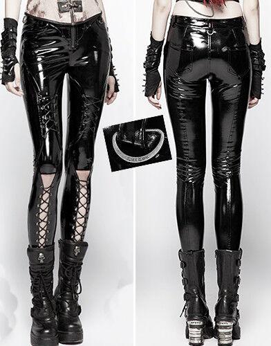 Pantalon zippé vinyle gothique punk lolita cyber laçage métal vernis PunkRave