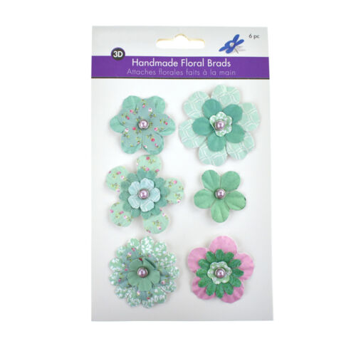 6-Piece Paper Craft Floral Brads