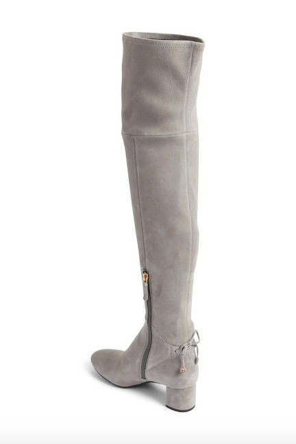 NEW  598 TORY BURCH LAILA STRETCH STRETCH STRETCH SUEDE OVER THE KNEE OTK BOOT 5 CARBON GREY 4ea734