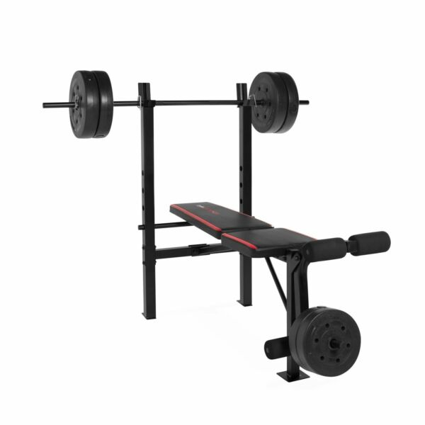 Weight Bench With Bar And Weights 100 Lb Lift Set