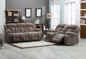 2pc Sofa Set Reclining Sofa Loveseat Console Cup Holder Fabric Tan