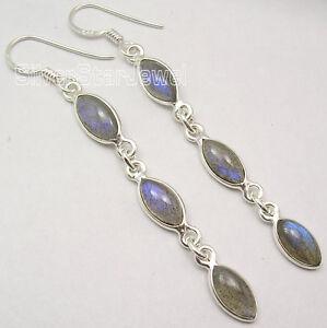 925-Sterling-Silver-Real-BLUE-FIRE-LABRADORITE-LONG-Dangling-Earrings-2-6-034