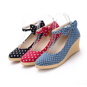 womens-polka-dot-wedge-heels-bowknot-pumps-dress-shoes-Mary-Janes-casual-shoes