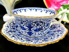 Stunning Coalport TEA CUP AND SAUCER cobalt blue chintz teacup pattern