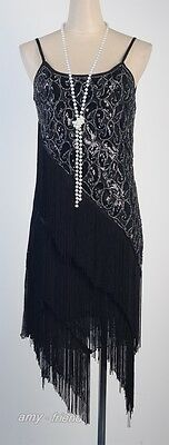 1920's Flapper Party Clubwear Great Gatsby Sequin & Tassel Black Dress  AF 3226