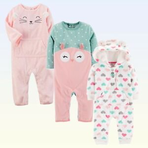 Baby-Girls-Fleece-Coverall-Carters-Dot-Print-Owl-Heart-Print-Pink-Cat-White-1Pc