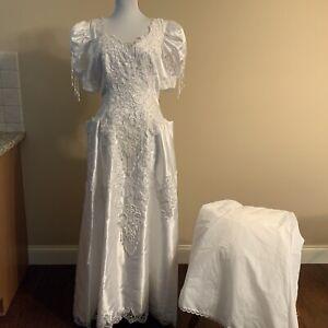 Size 16 Bridal Originals White Beaded Short Sleeve Wedding Dress Includes Slip Ebay,Plus Size Dress For Wedding Guest