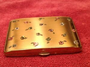 Ladies-Vintage-Compact-Gold-Tone-Metal-W-Colored-Faux-Crystals-Flower-Design