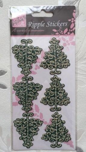 6x arbres de Noël vert Ripple 3D monté Autocollants-Cardmaking Nouveau-Anita /'s