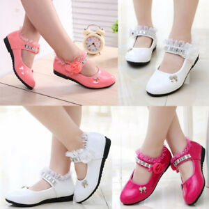 6a923cf3536c2 Details about Kids Baby Girl Rhinestone Princess Party Dress Dance Shoes  Leather Moccasins US