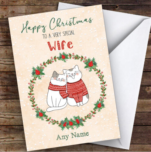 Mignon Chat Romantique Femme Personnalisé Carte de Noël