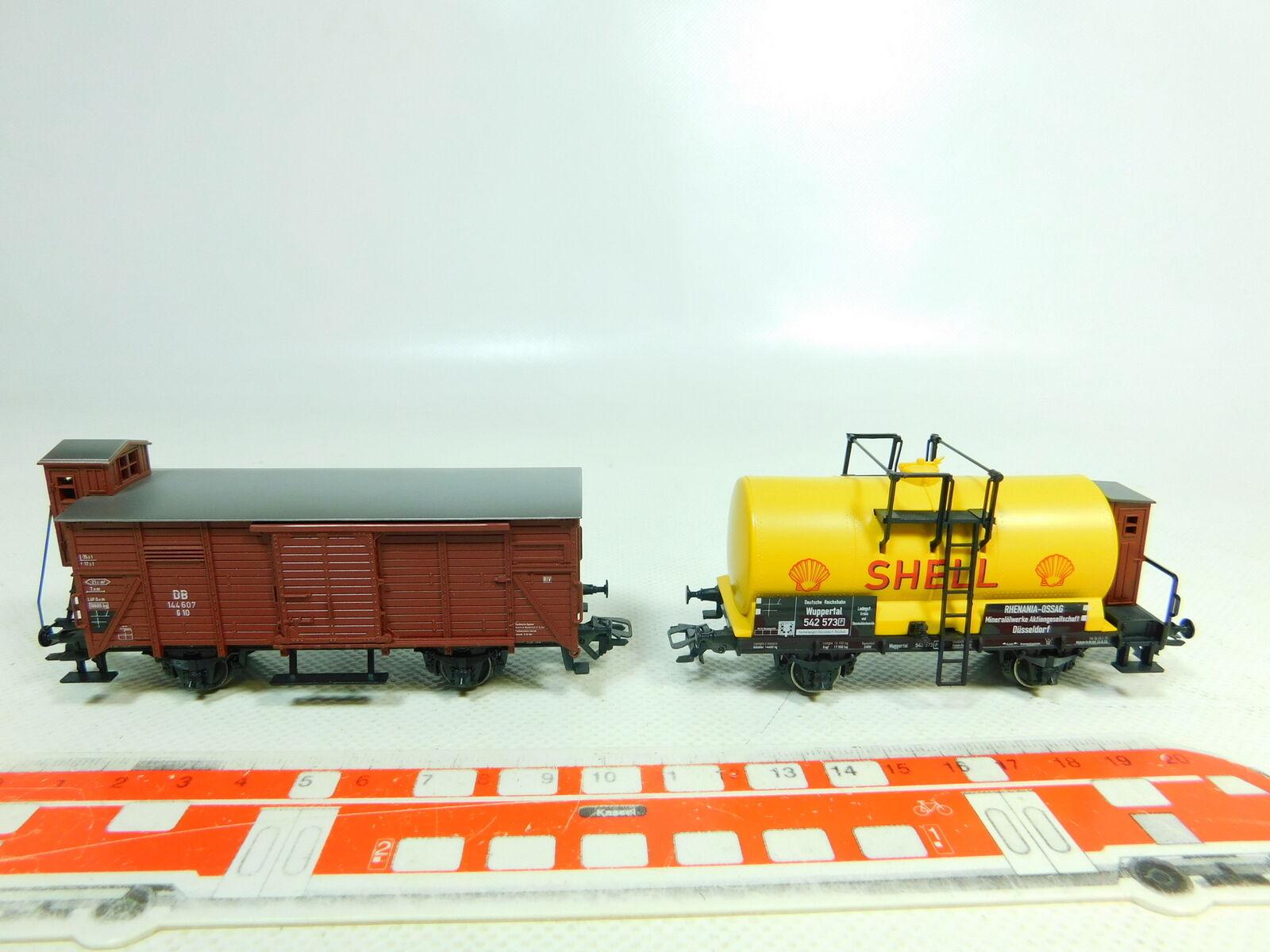 BT735-0,5 x Märklin H0 Ac Carro Merci Nem Kk   144 607 Db + Shell DRG,Molto