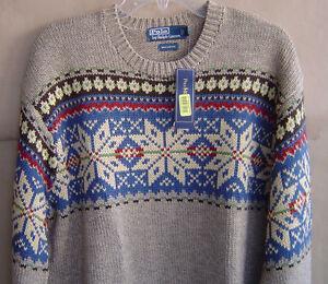 Nwt $195 Polo Ralph Lauren Men Xl Nordic Crewneck Holiday Sweater Cotton 0114281 by Polo Ralph Lauren