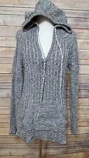 Roxy Large Heather Gray Ribbed Hooded Tunic Long Sweater w/Kangaroo Pocket
