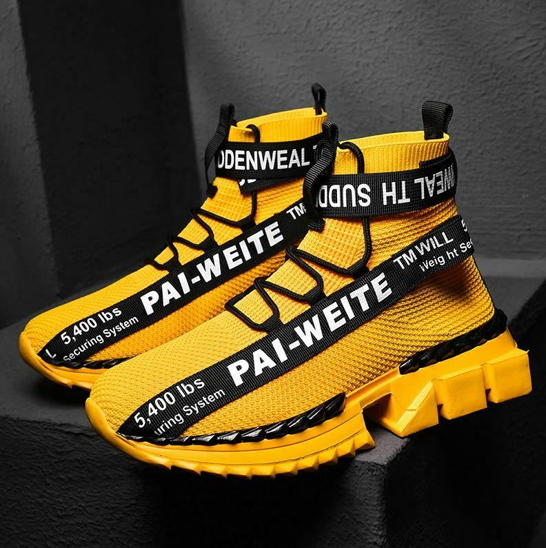 Men's STATEMENT Street Sneakers / White / Yellow / Black